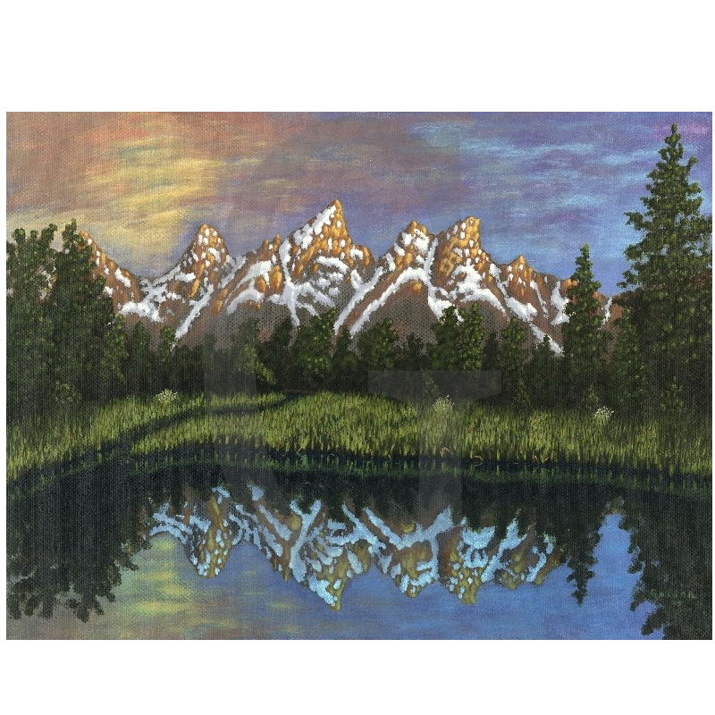 William Lee Golden Painting- Grand Tetons