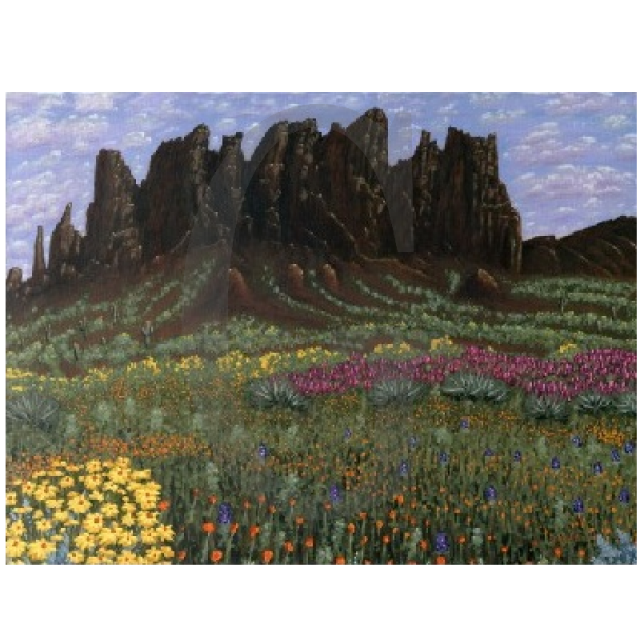 William Lee Golden Painting - Superstition Mountain