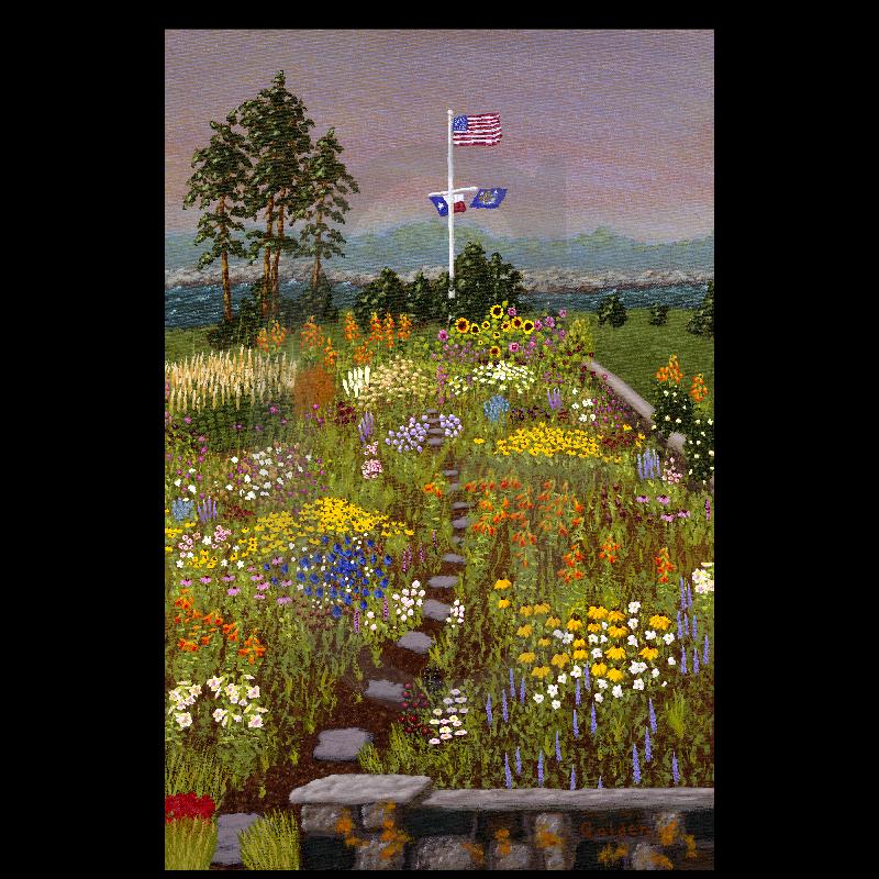 William Lee Golden Painting - Bush Garden